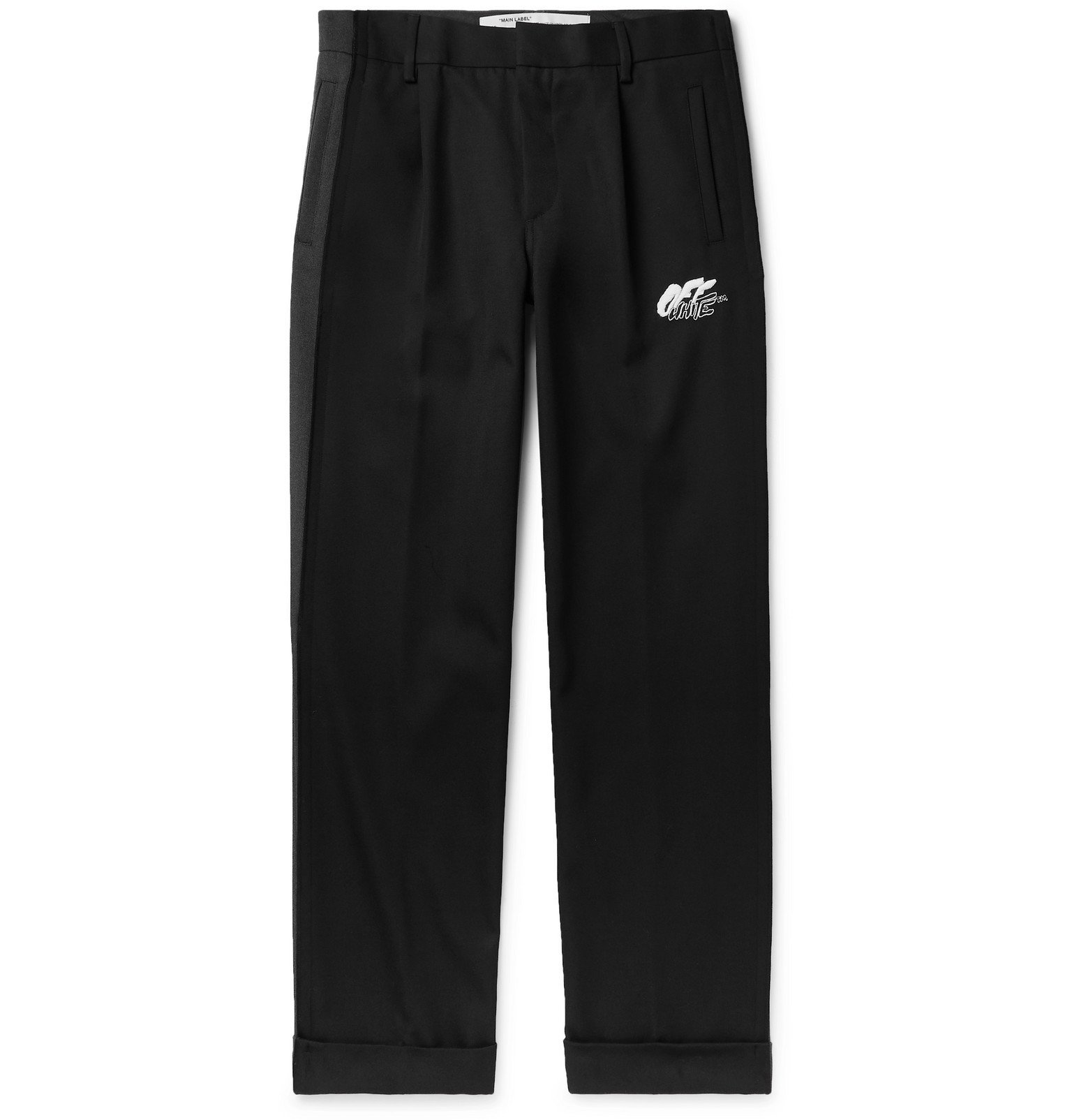 Photo: Off-White - Black Logo-Embroidered Wool-Blend Trousers - Gray
