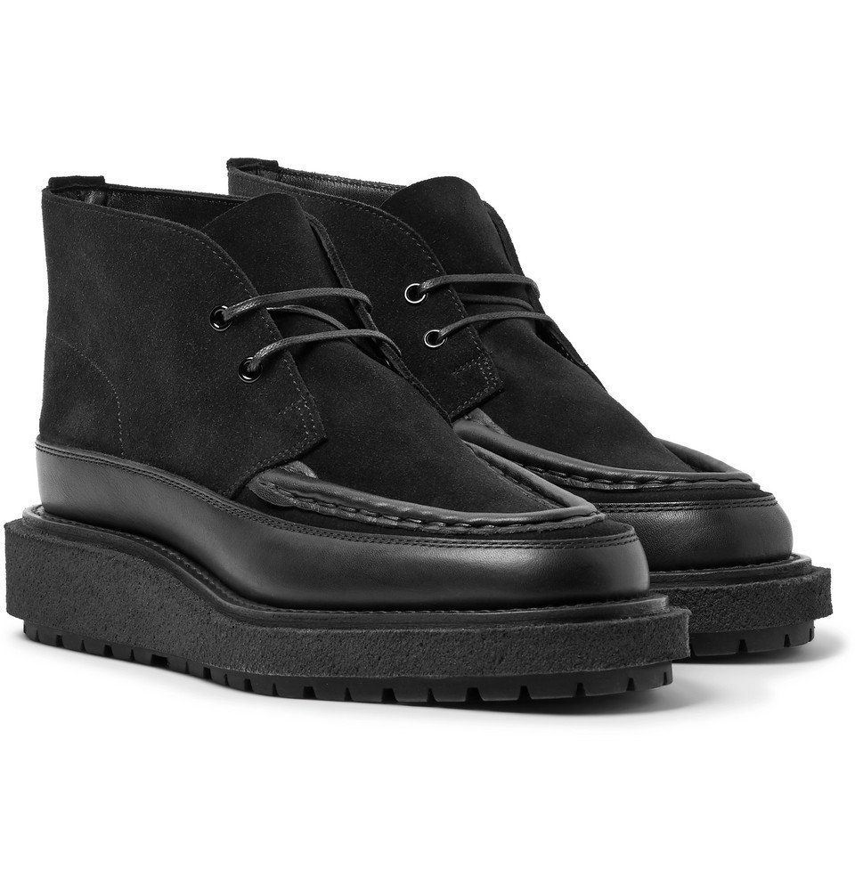 Sacai - Leather-Trimmed Suede Boots - Black