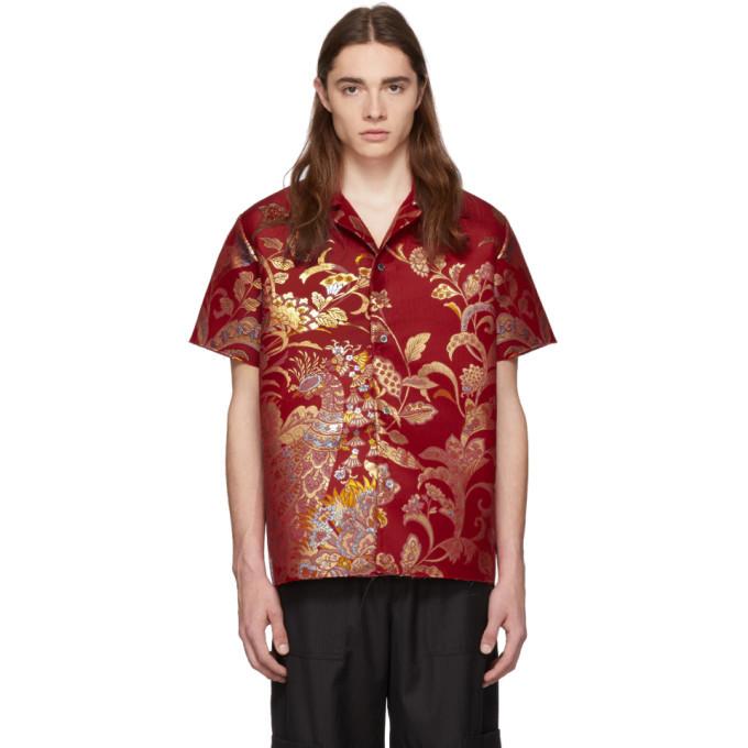 Photo: Maison Margiela Red Jacquard Artisanal Kimono Shirt