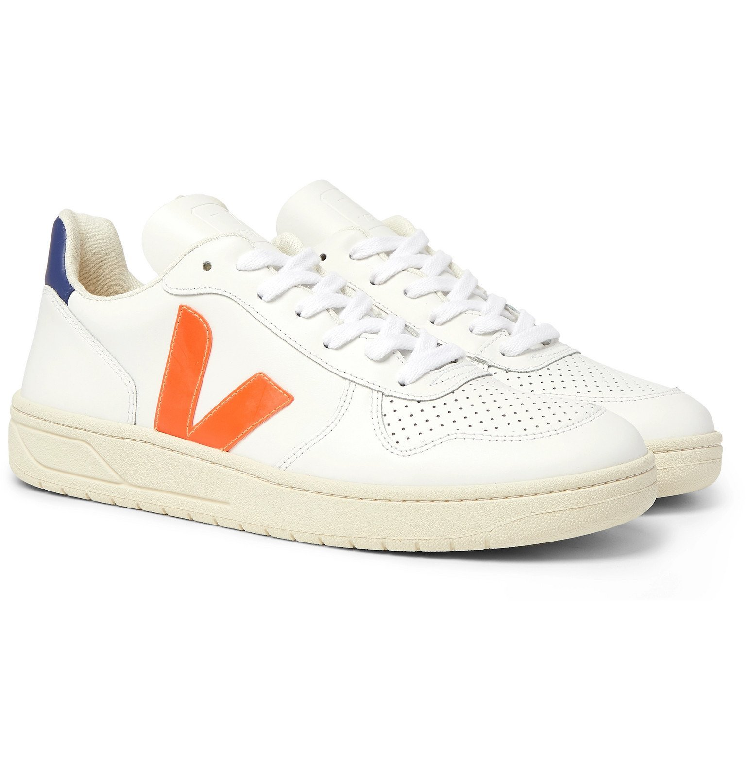 Photo: Veja - V-10 Rubber-Trimmed Leather Sneakers - White
