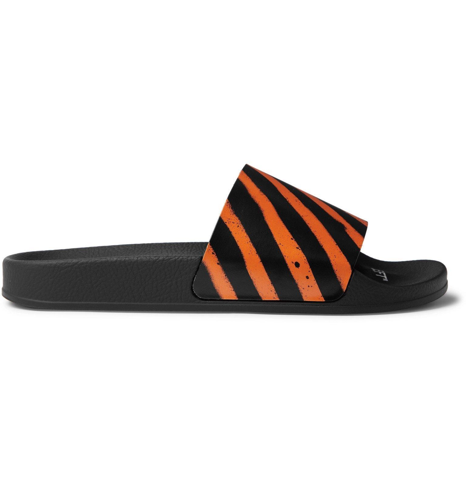 Photo: Off-White - Striped Rubber Slides - Black