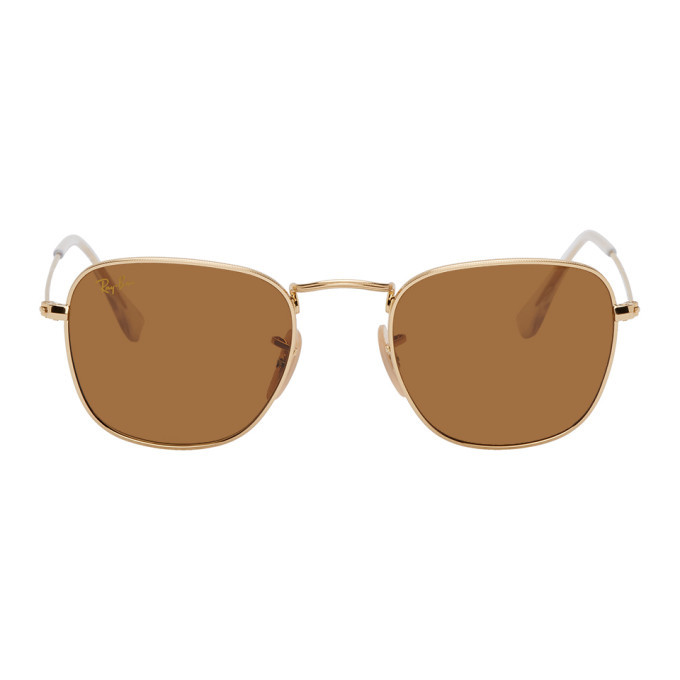 Photo: Ray-Ban Gold and Brown Frank Legend Sunglasses