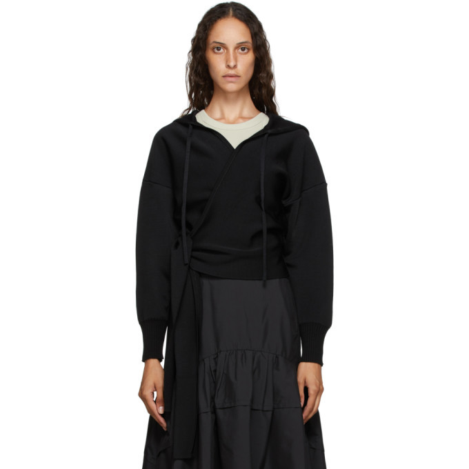 3.1 Phillip Lim Black Wool Wrap Hoodie