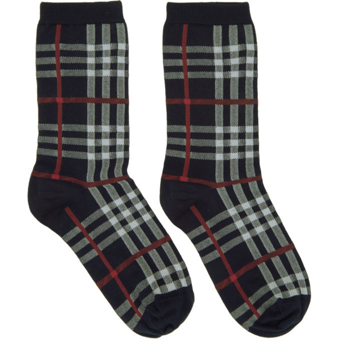 Photo: Burberry Navy Vintage Check Socks