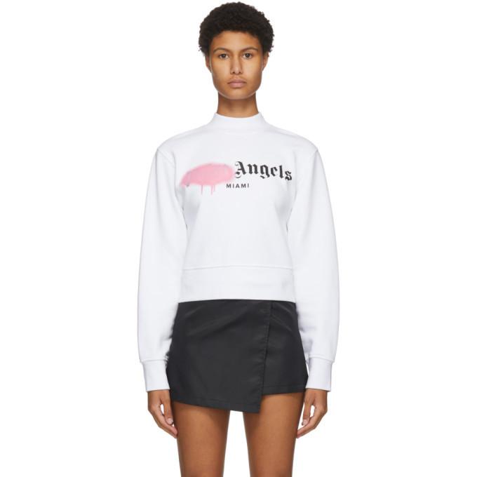 Photo: Palm Angels White Miami Sprayed Logo Sweatshirt
