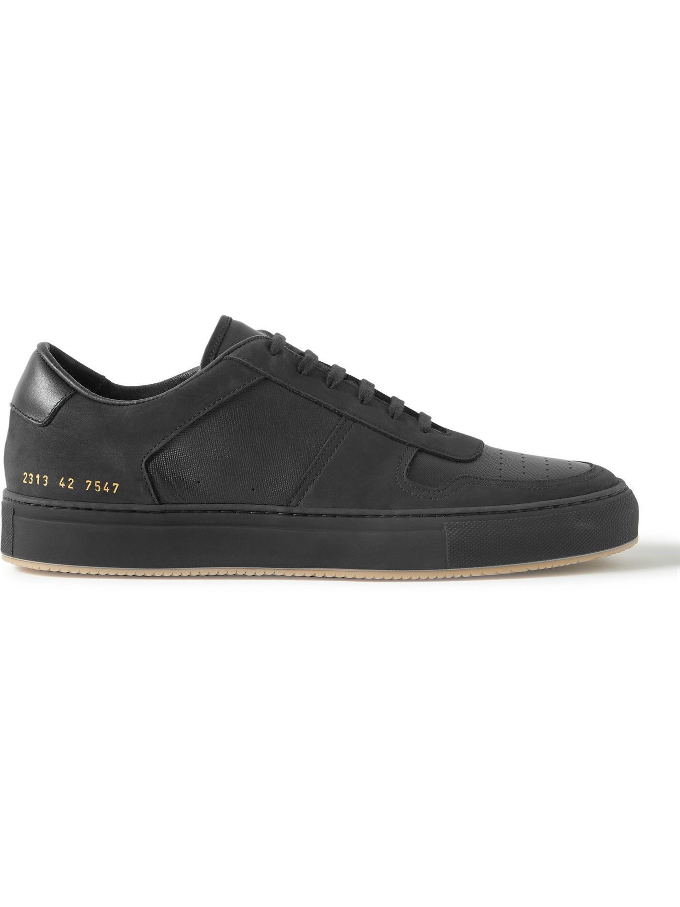 Photo: Common Projects - BBall Saffiano Leather and Nubuck Sneakers - Black