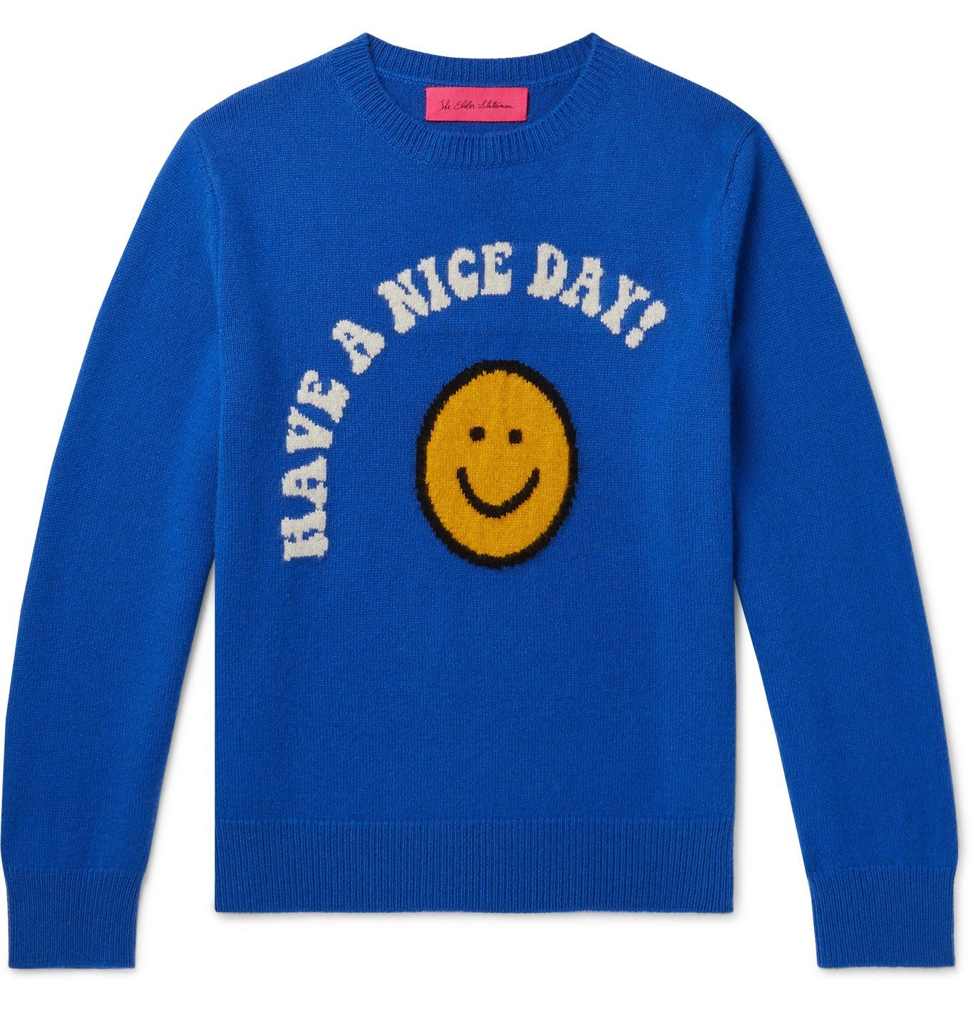 Photo: THE ELDER STATESMAN - Have a Nice Day Intarsia Cashmere Sweater - Blue