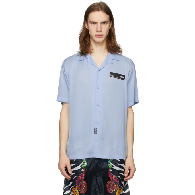 Photo: Versace Jeans Couture Blue Rubber Logo Short Sleeve Shirt