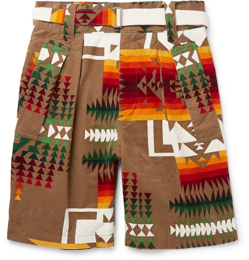 Photo: Sacai - Pendleton Printed Cotton-Corduroy Shorts - Brown
