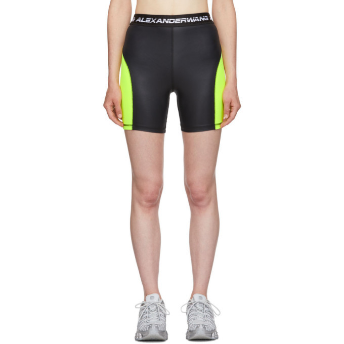 Photo: alexanderwang.t Black and Yellow Logo Elastic Wash and Go Biker Shorts