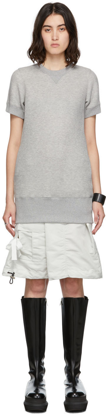 Sacai Grey Nylon Twill Sponge Dress