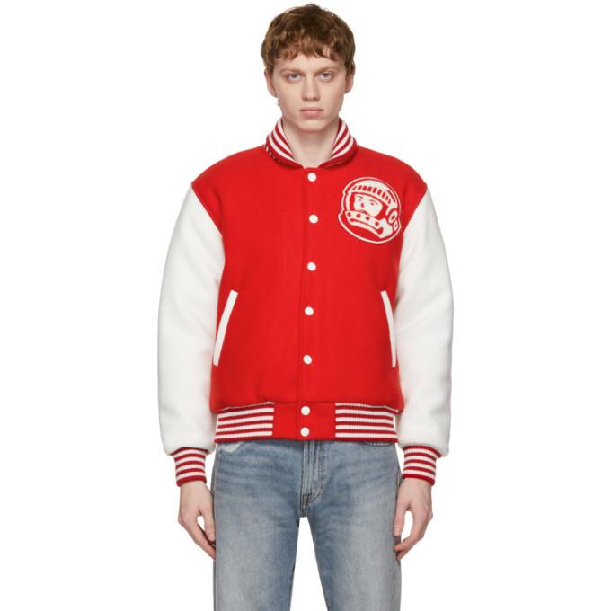 Photo: Billionaire Boys Club Red and White Astro Varsity Jacket