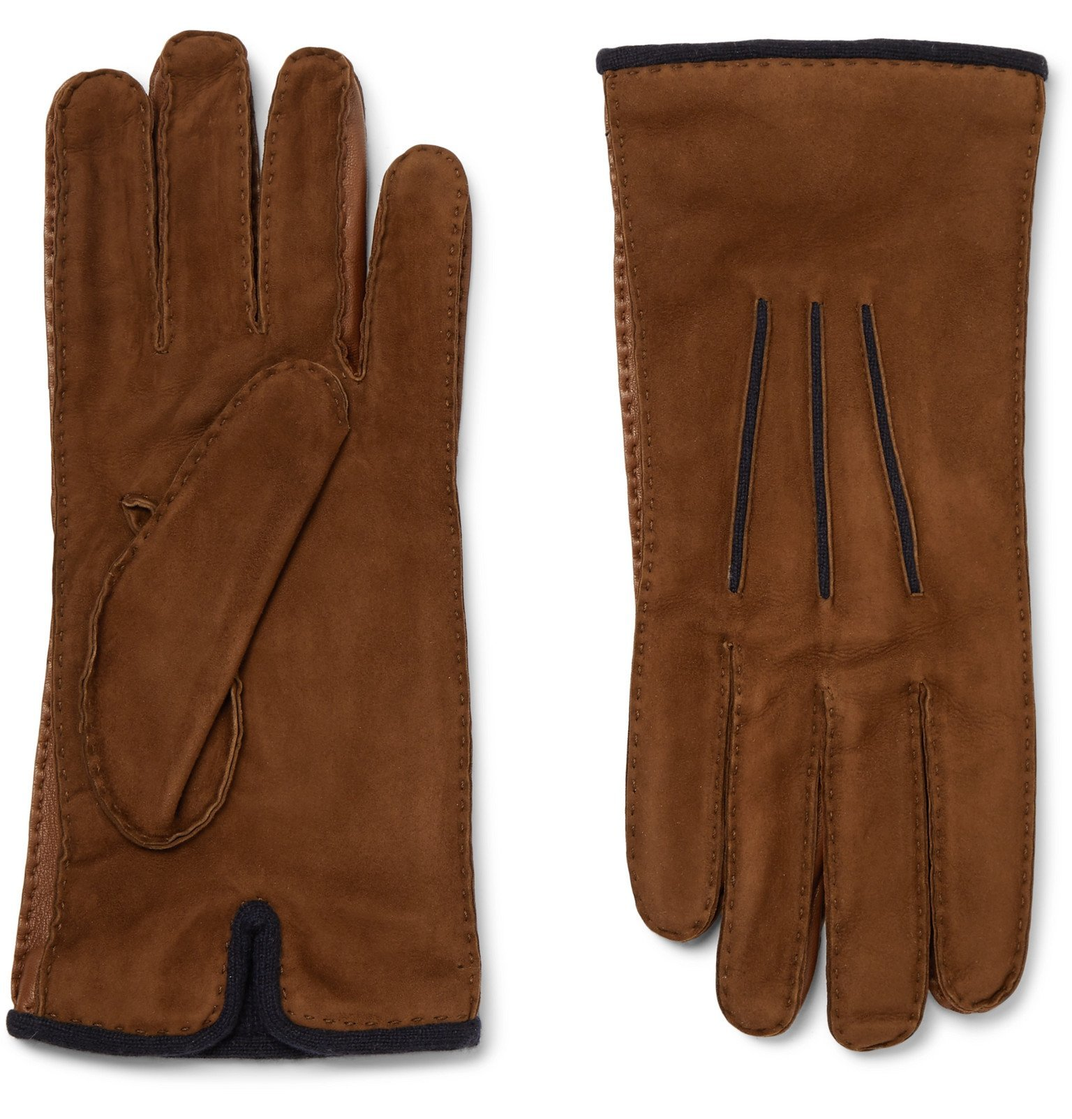 Photo: Loro Piana - Damon Baby Cashmere-Lined Suede Gloves - Brown