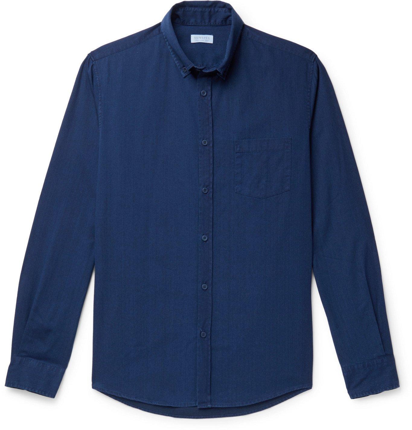 Sunspel - Button-Down Collar Cotton-Chambray Shirt - Blue