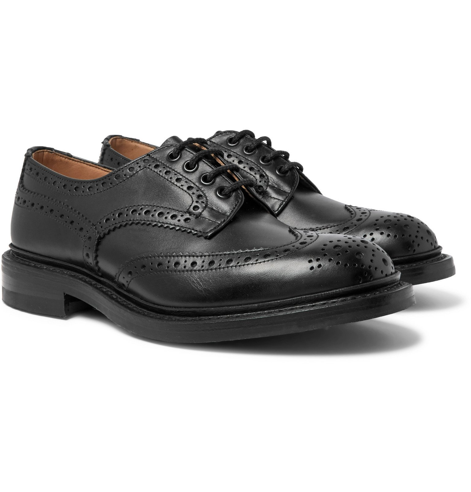 Photo: Tricker's - Bourton Leather Wingtip Brogues - Black