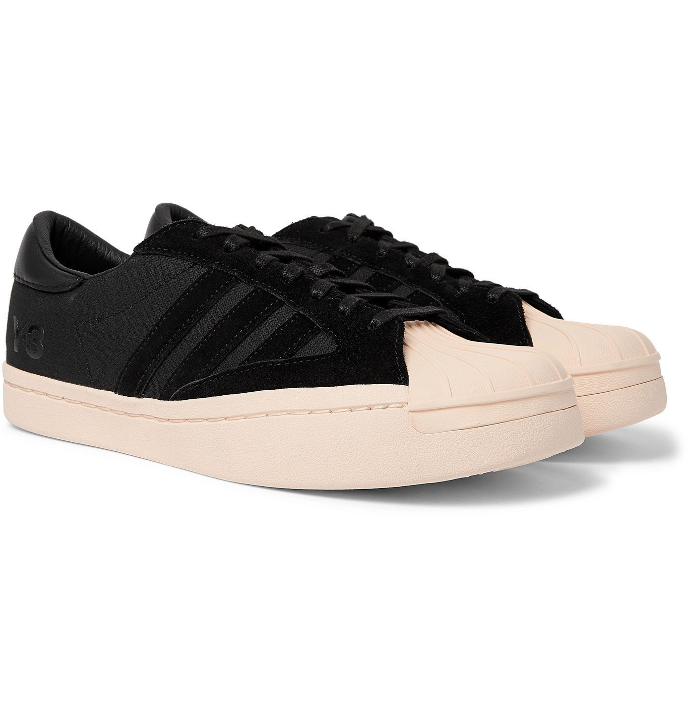 Photo: Y-3 - Yohji Star Leather and Suede-Trimmed Canvas Sneakers - Black
