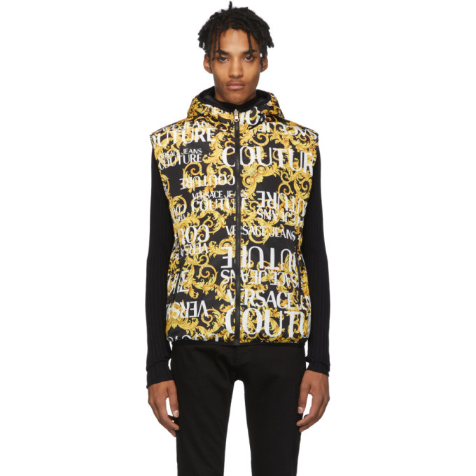 Photo: Versace Jeans Couture Reversible Gold and Black Baroque All Over Vest