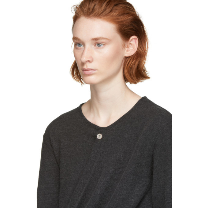 Lemaire Grey Wool Wrap Sweater
