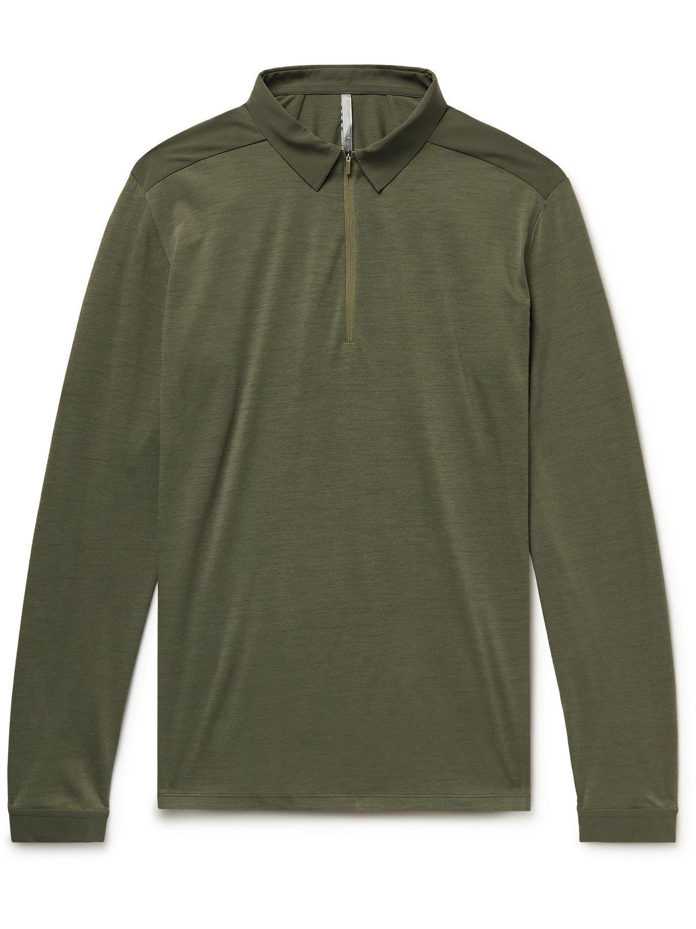 Photo: Veilance - Frame Merino Wool-Blend Half-Zip Polo Shirt - Green
