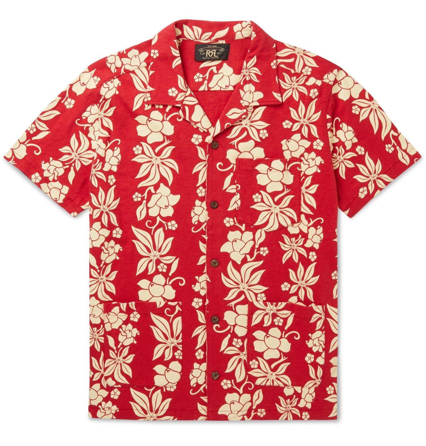 Photo: RRL - Camp-Collar Floral-Print Cotton-Jersey Shirt - Red