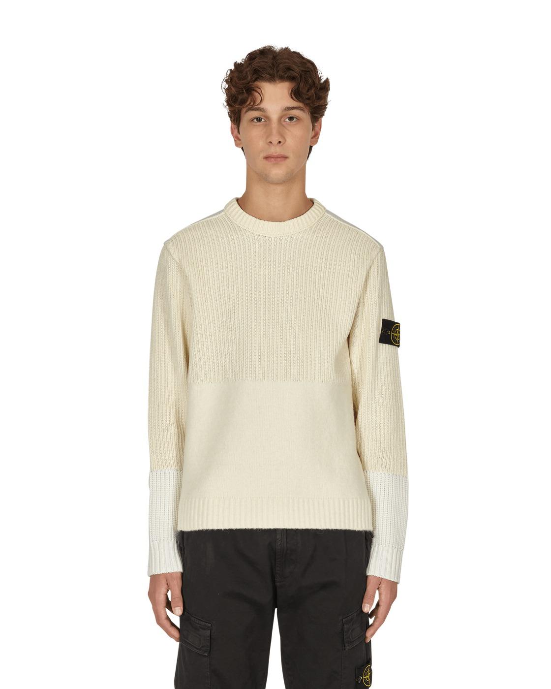 Photo: Stone Island Panelled Wool Sweater Ivory