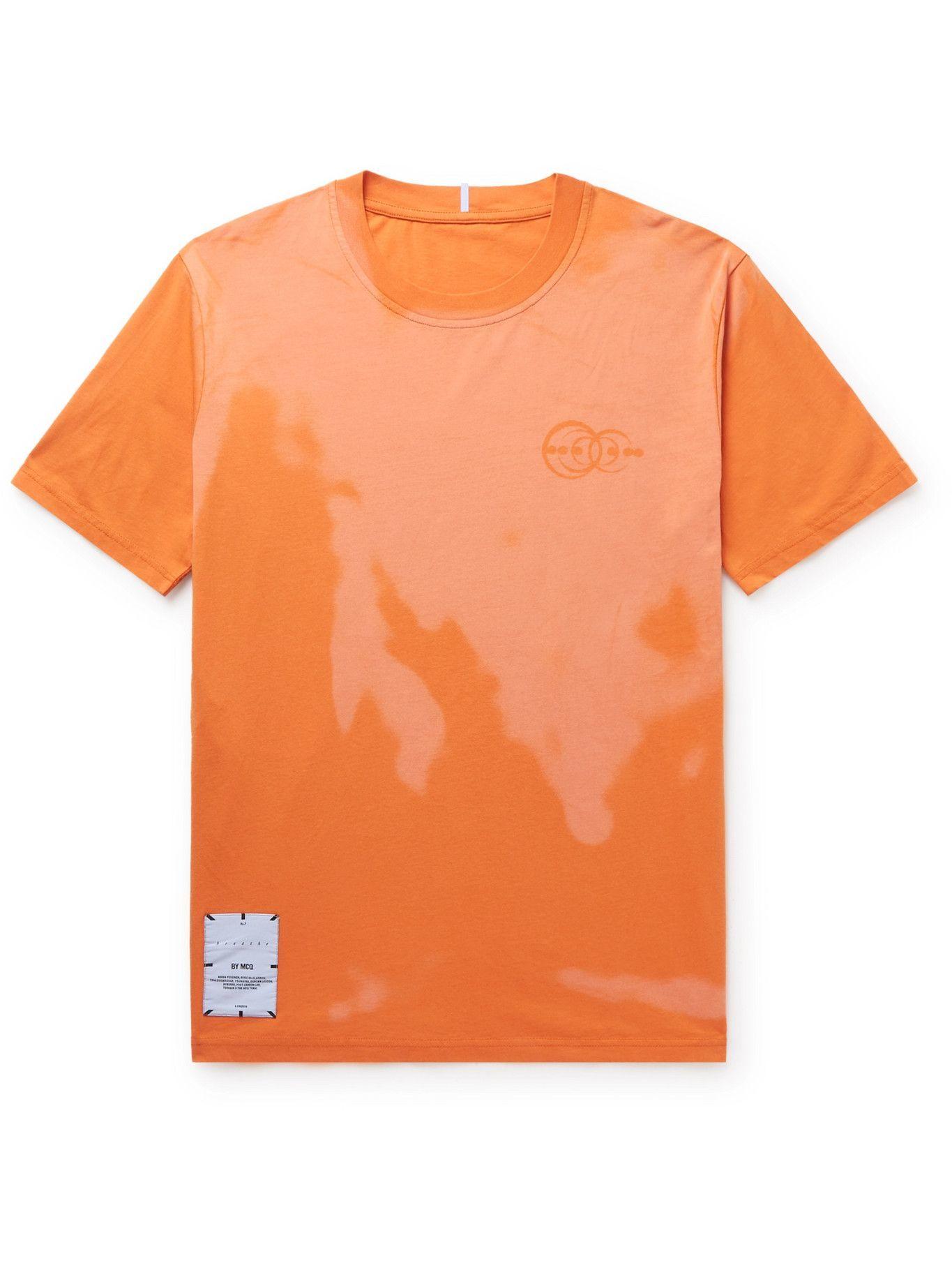 Photo: MCQ - Logo-Appliquéd Printed Cotton-Jersey T-Shirt - Orange