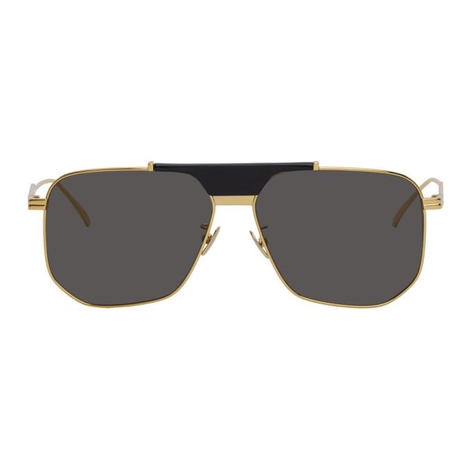 Photo: Bottega Veneta Gold and Grey Aviator Sunglasses