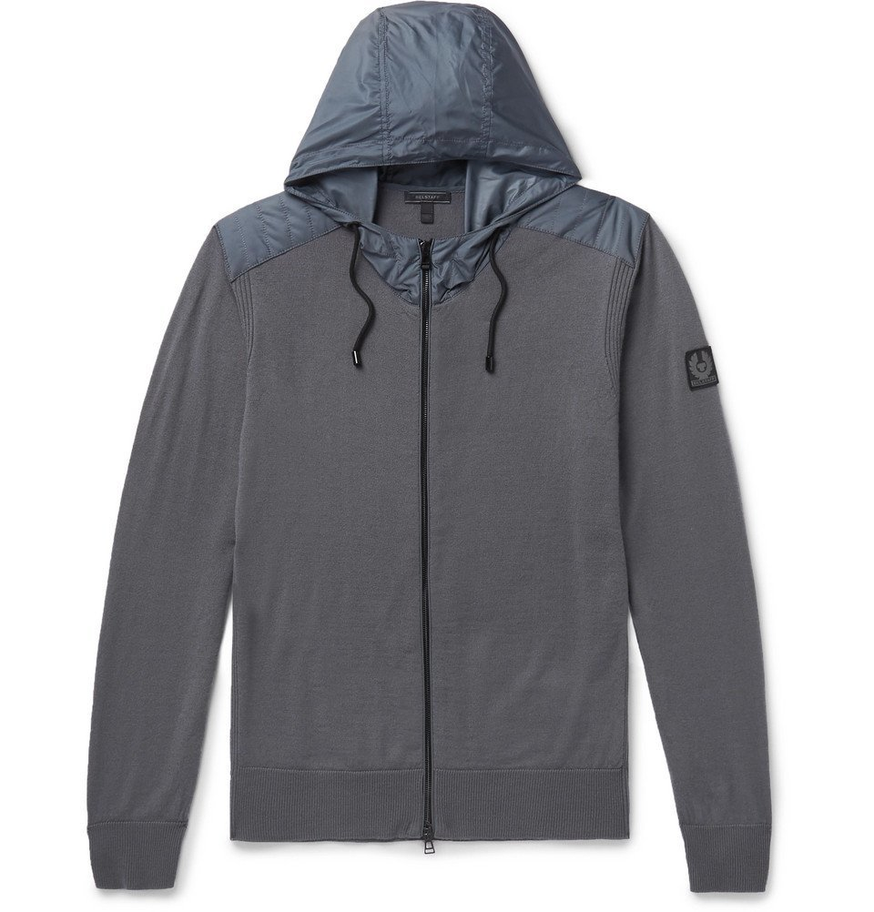 Photo: Belstaff - Aldlington Shell-Trimmed Virgin Wool Zip-Up Hoodie - Men - Gray