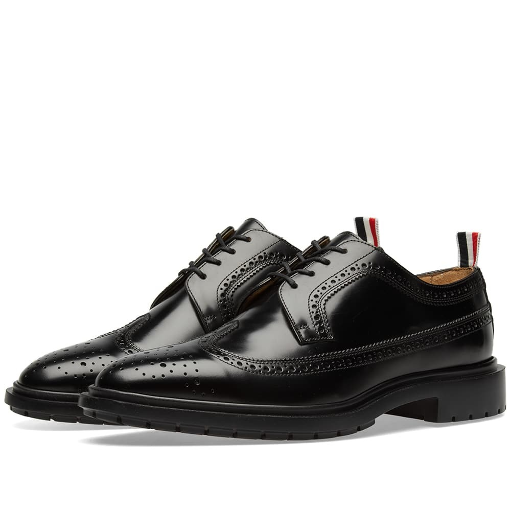 Photo: Thom Browne Classic Rubber Sole Long Wing Brogue Black