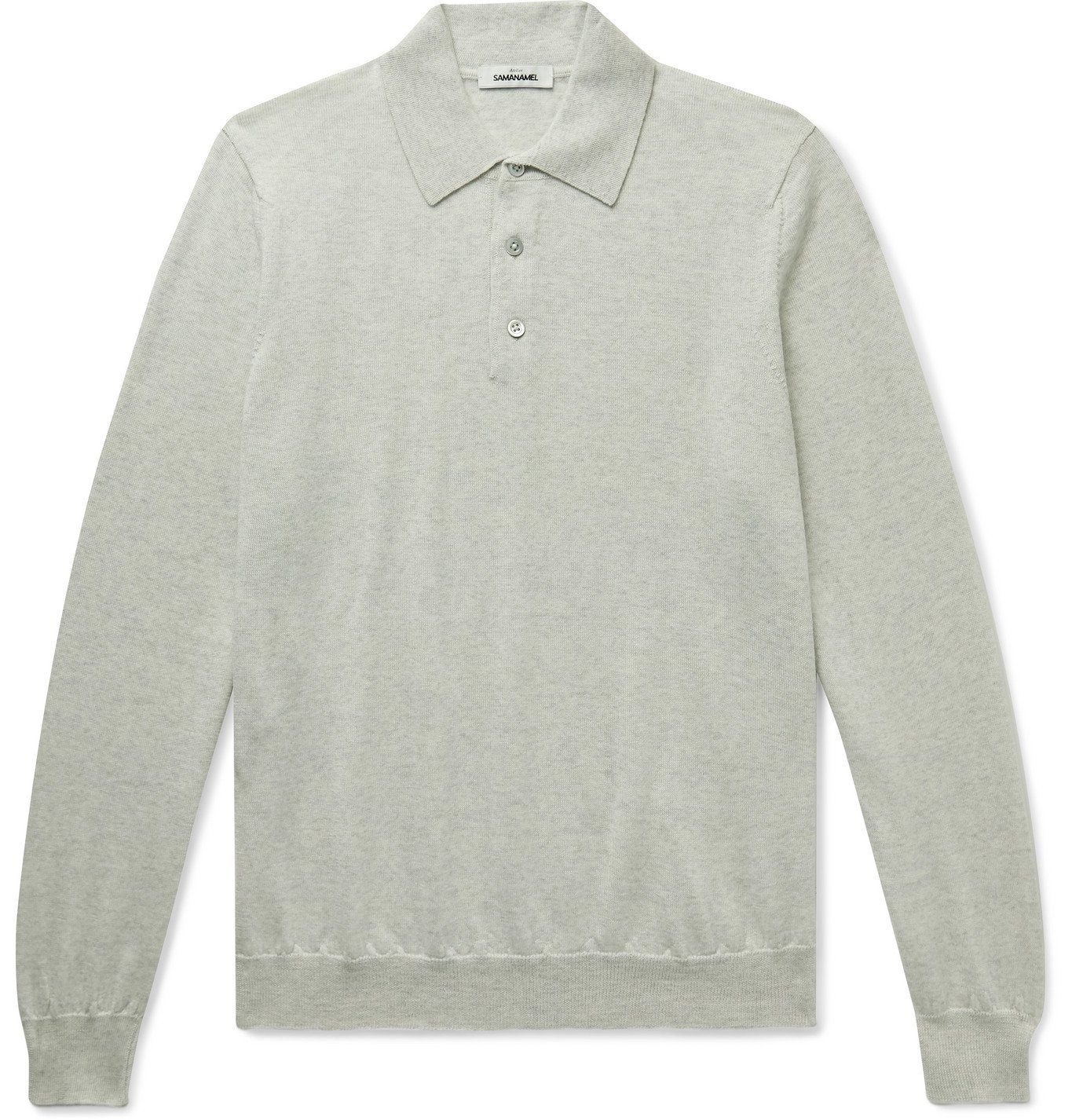 Photo: Saman Amel - Merino Wool Polo Shirt - Neutrals