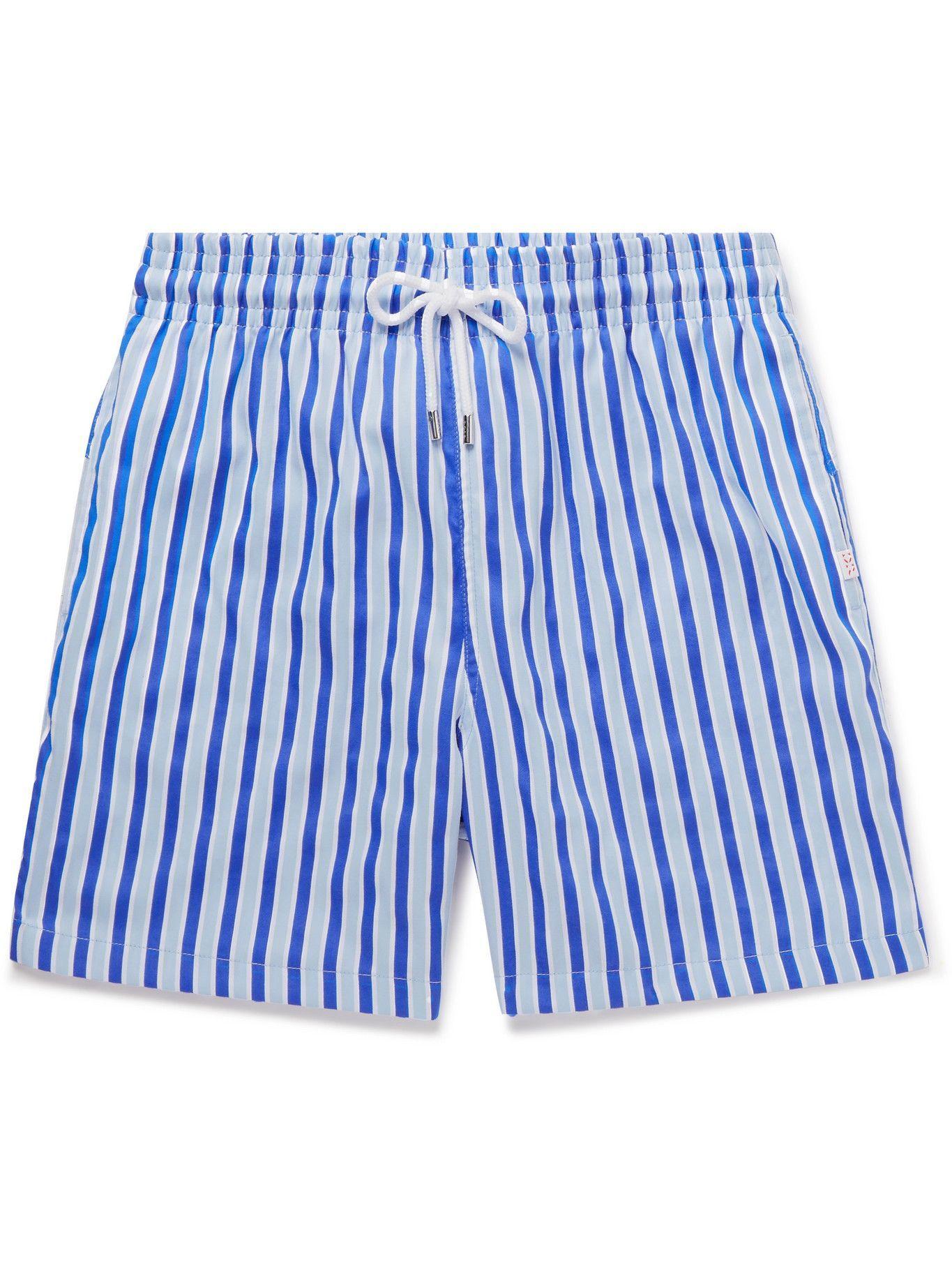 Photo: Derek Rose - Mid-Length Striped Swim Shorts - Blue