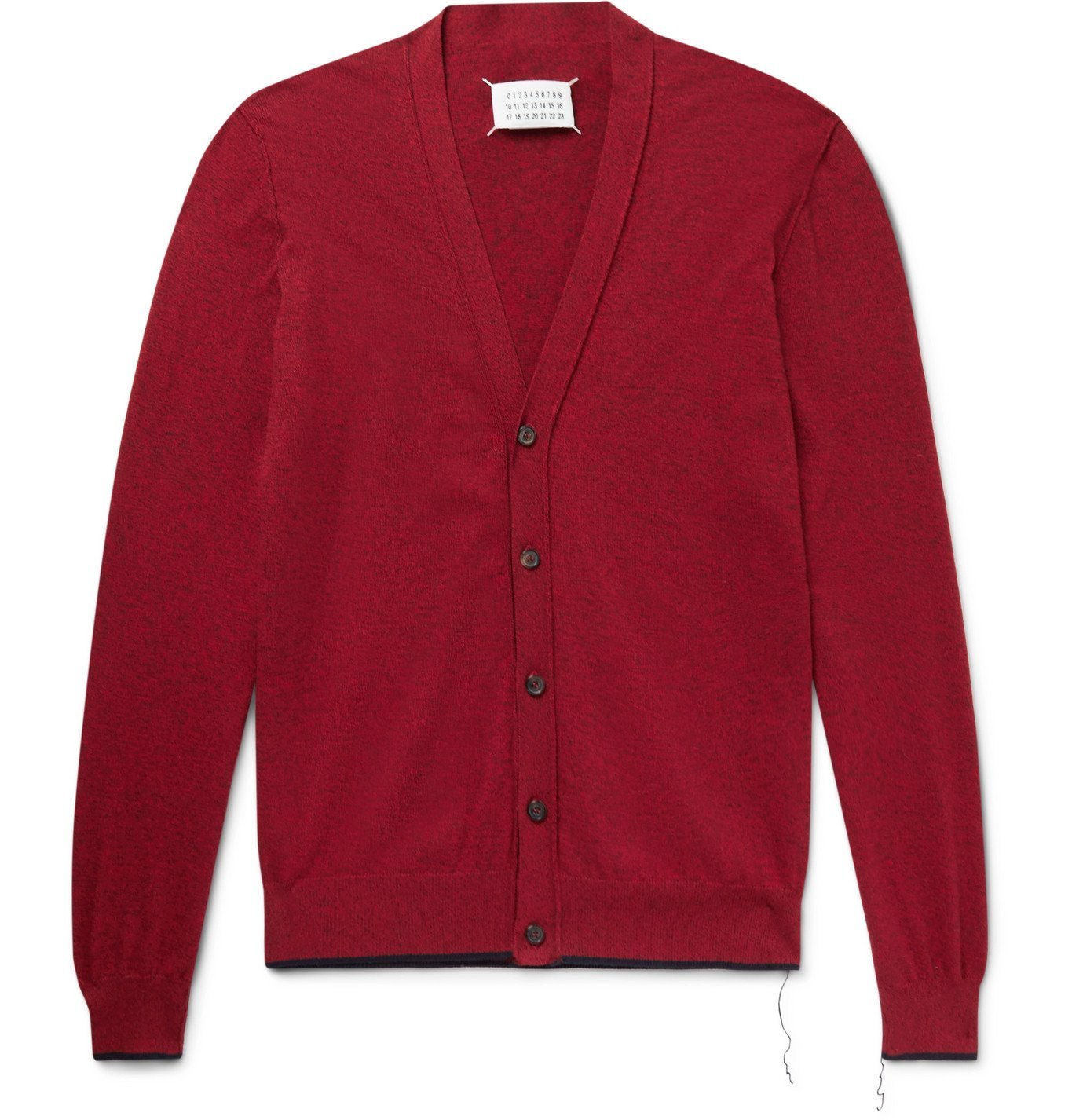 Photo: MAISON MARGIELA - Suede-Trimmed Mélange Cotton and Wool-Blend Cardigan - Red