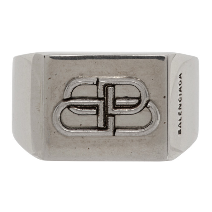 Photo: Balenciaga Silver BB Logo Ring