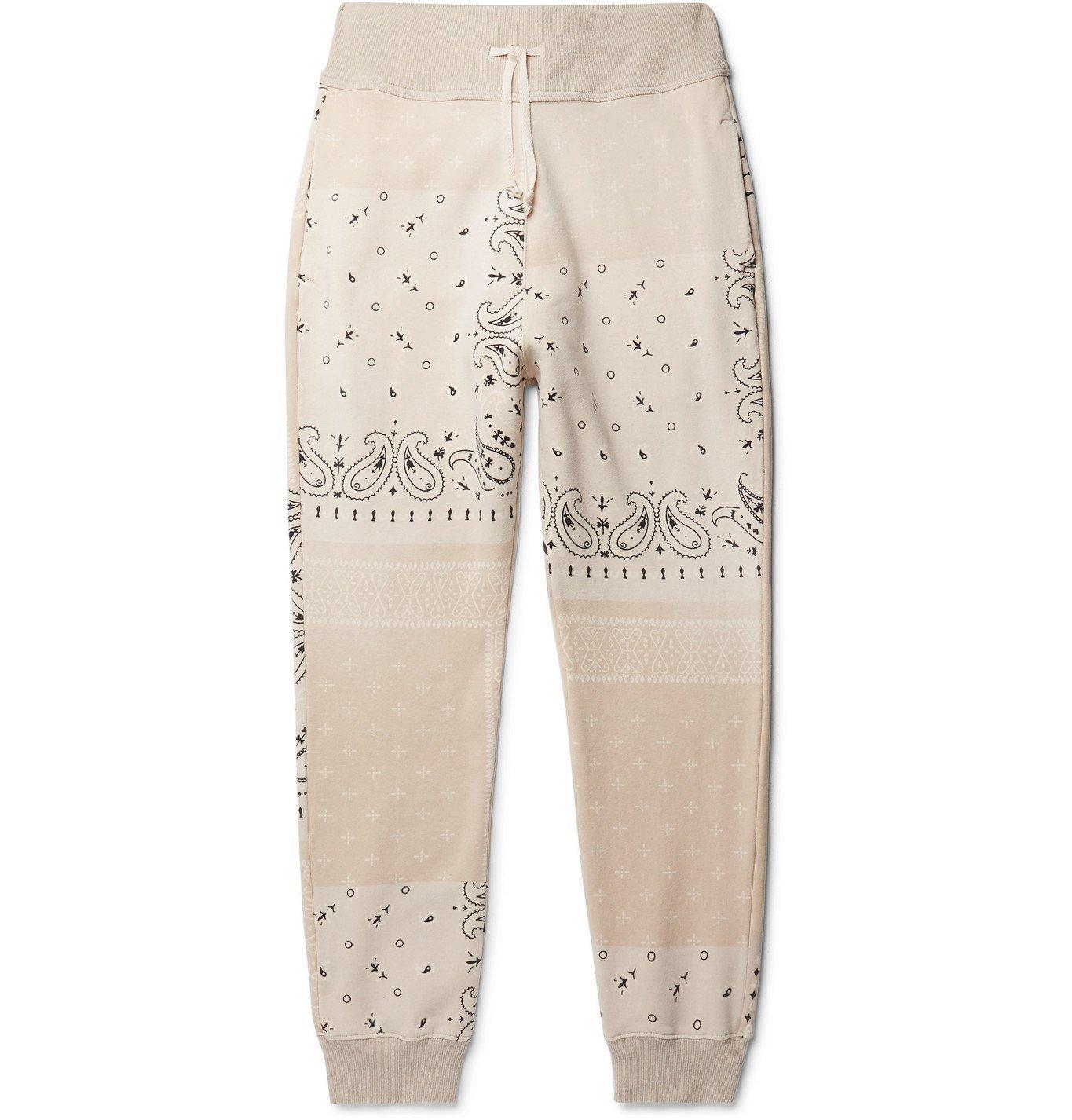 KAPITAL - Tapered Bandana-Print Fleece-Back Cotton-Jersey Sweatpants - Neutrals