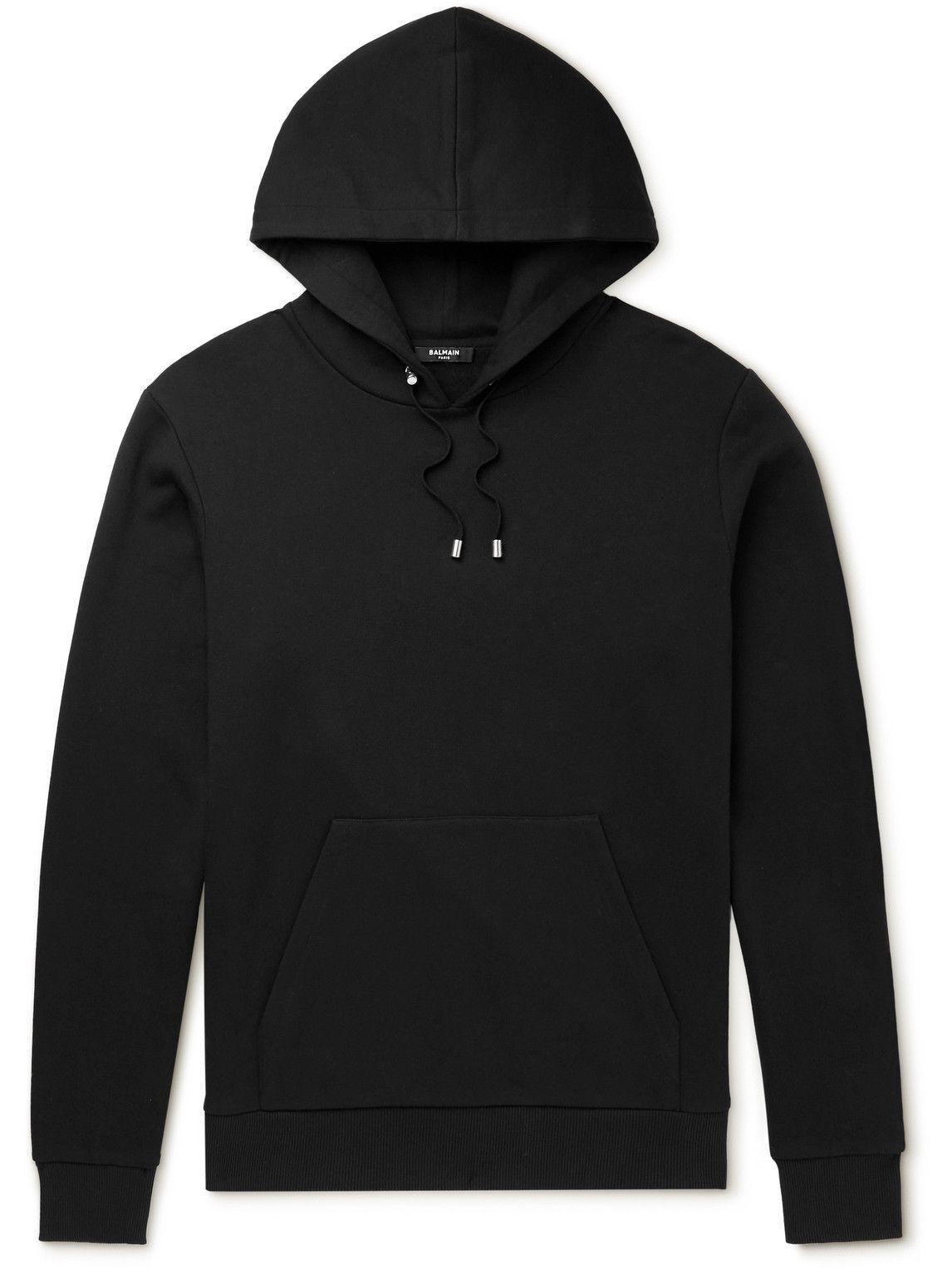 Photo: Balmain - Logo-Embroidered Cotton-Jersey Hoodie - Black