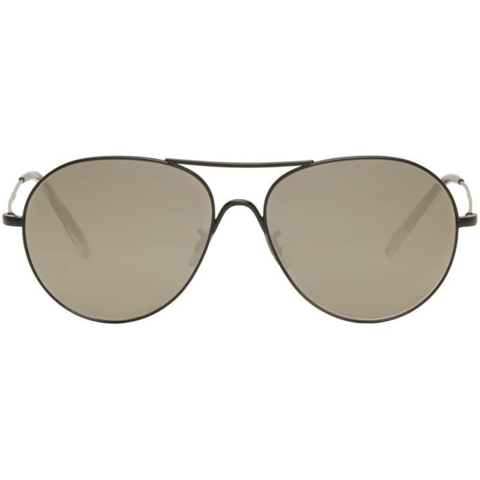 Oliver Peoples Black Rockmore Aviator Sunglasses
