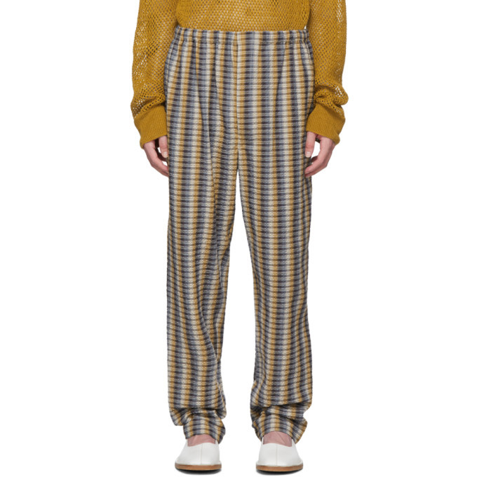 Photo: Lemaire Yellow and Blue Seersucker Elasticated Trousers