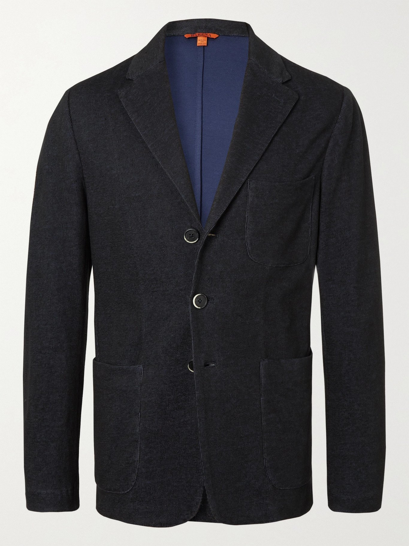 Photo: BARENA - Unstructured Cotton and Linen-Blend Jersey Blazer - Blue