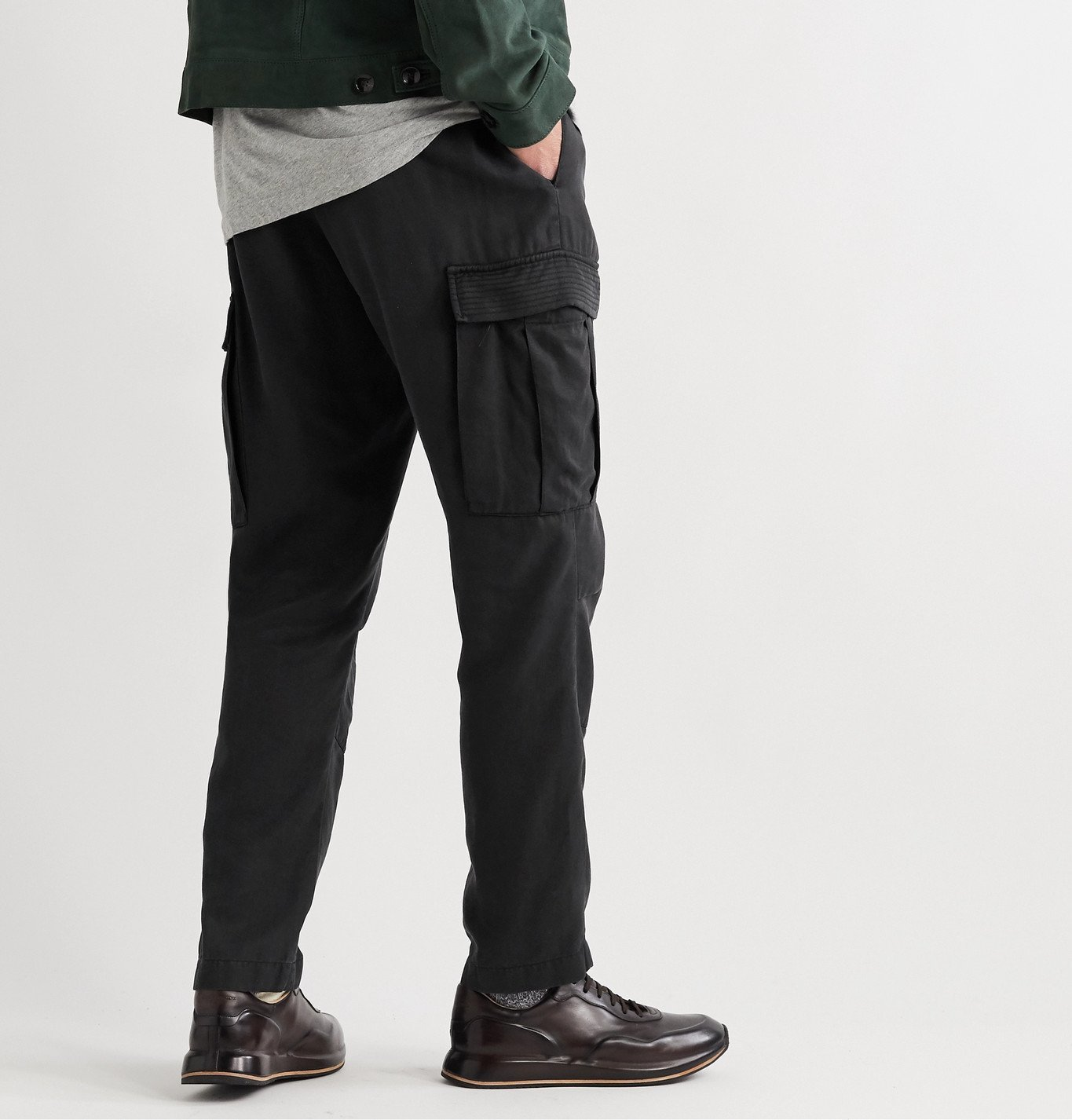 Officine Generale - Jay Garment-Dyed Tencel Drawstring Cargo Trousers - Black