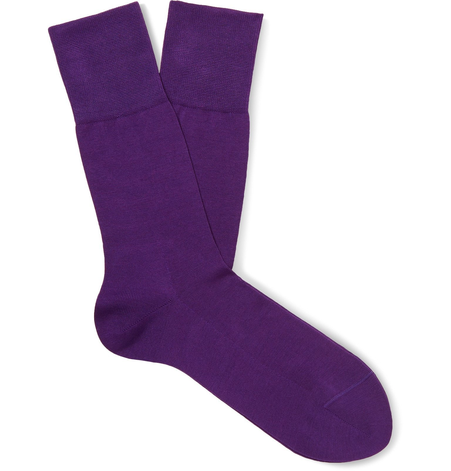 Photo: FALKE - Tiago Stretch Fil d'Ecosse Cotton-Blend Socks - Purple