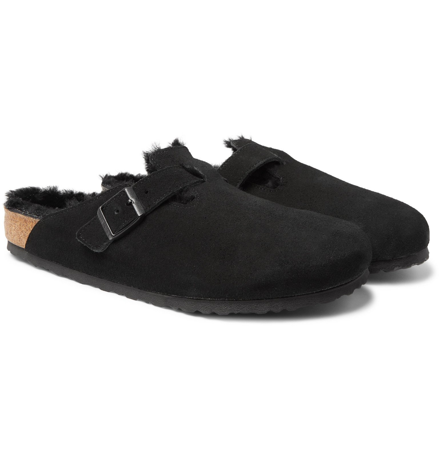 Photo: Birkenstock - Boston Shearling-Lined Suede Sandals - Black