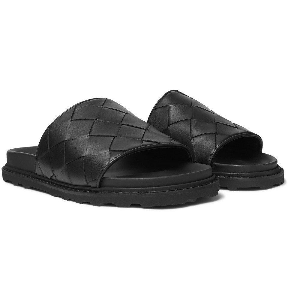 Photo: Bottega Veneta - Intrecciato Leather Slides - Black