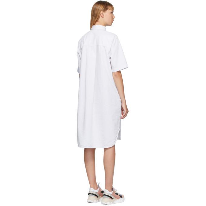 Won Hundred White and Grey Seersucker Caroline Dress
