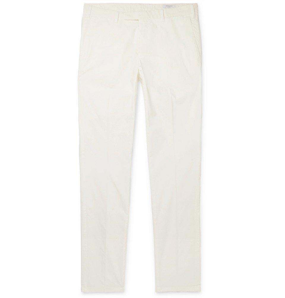 Photo: Boglioli - Slim-Fit Cotton-Blend Poplin Trousers - Cream