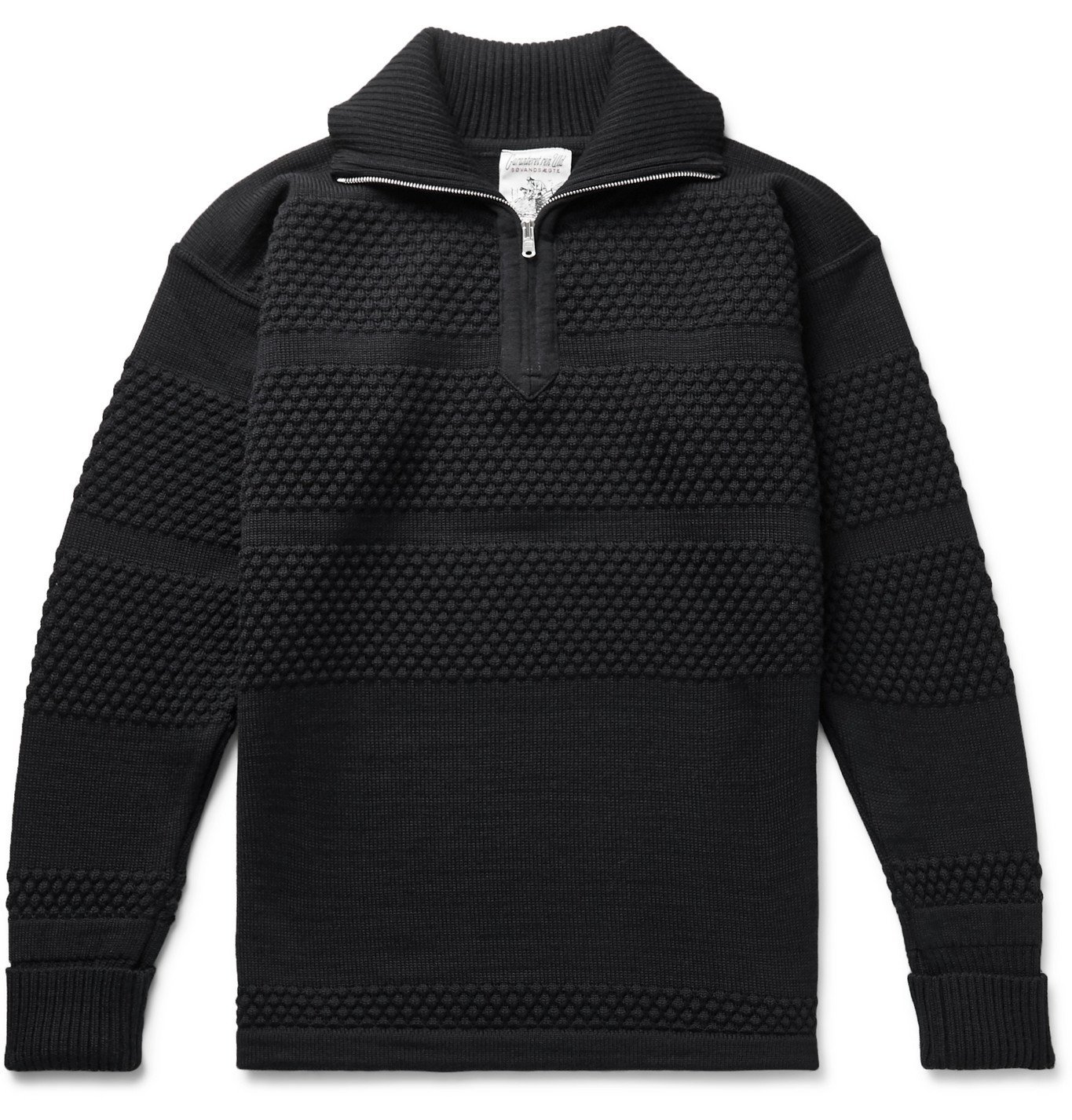 Photo: S.N.S. Herning - Virgin Wool Half-Zip Sweater - Blue