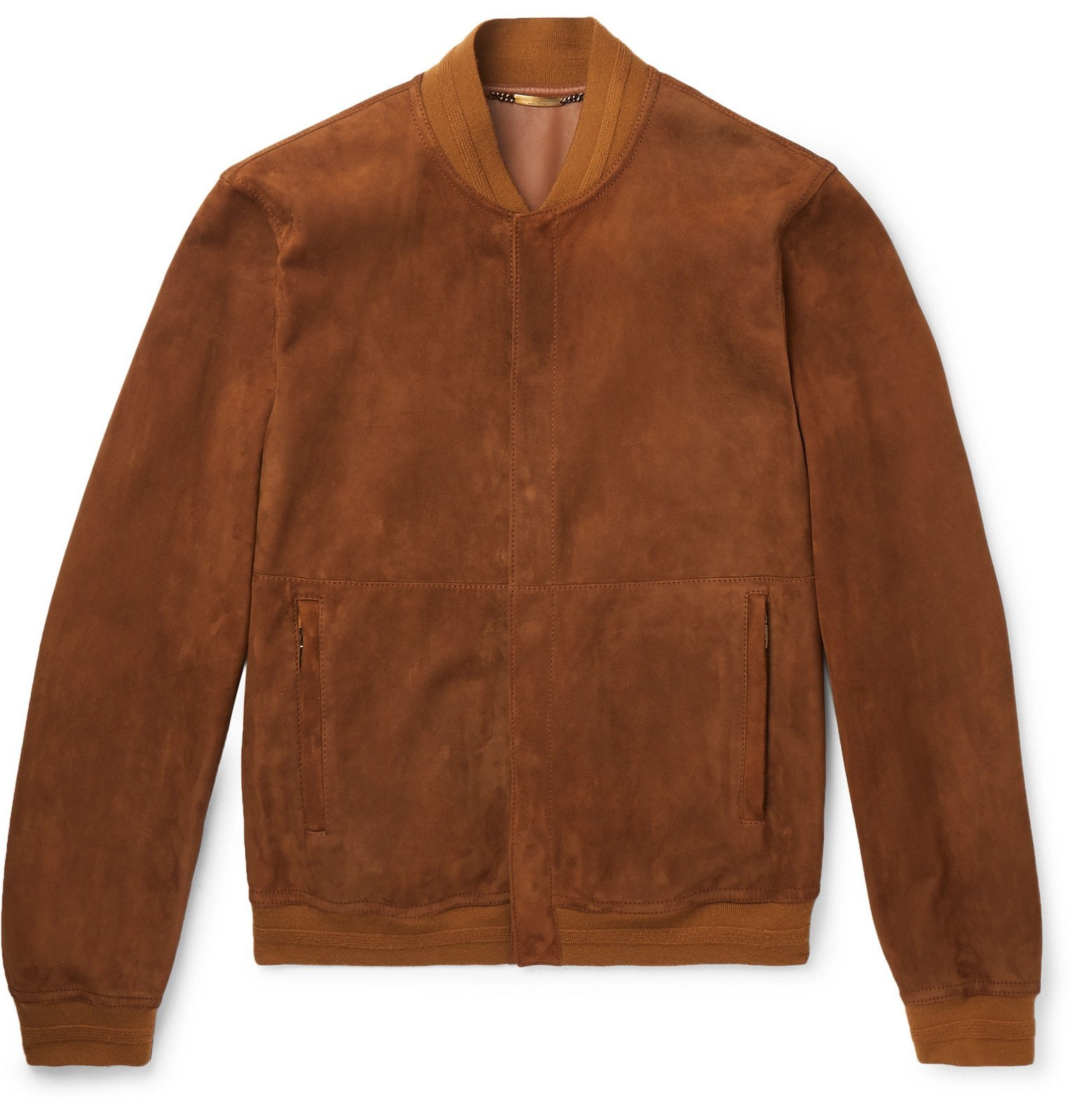 Photo: Dolce & Gabbana - Slim-Fit Suede Bomber Jacket - Brown