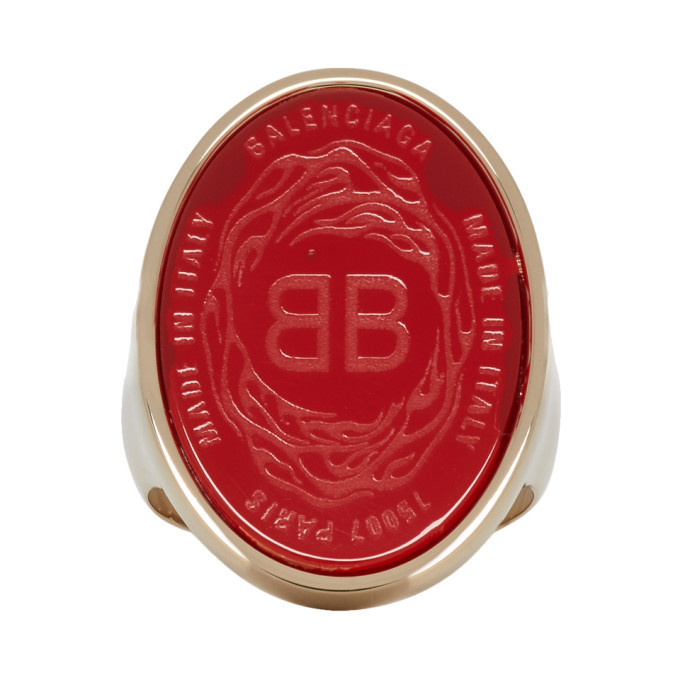 Photo: Balenciaga Red and Gold Oval Chevaliere Ring
