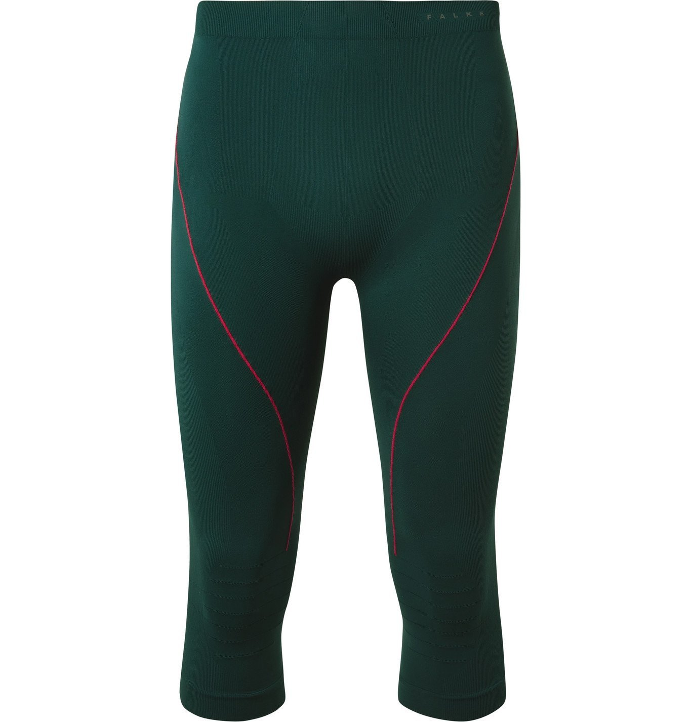 Photo: FALKE Ergonomic Sport System - Warm 3/4 Cropped Stretch-Jersey Ski Tights - Green