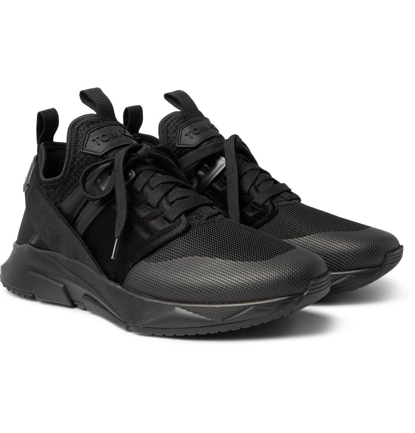 Photo: TOM FORD - Jago Neoprene, Mesh and Nylon Sneakers - Black