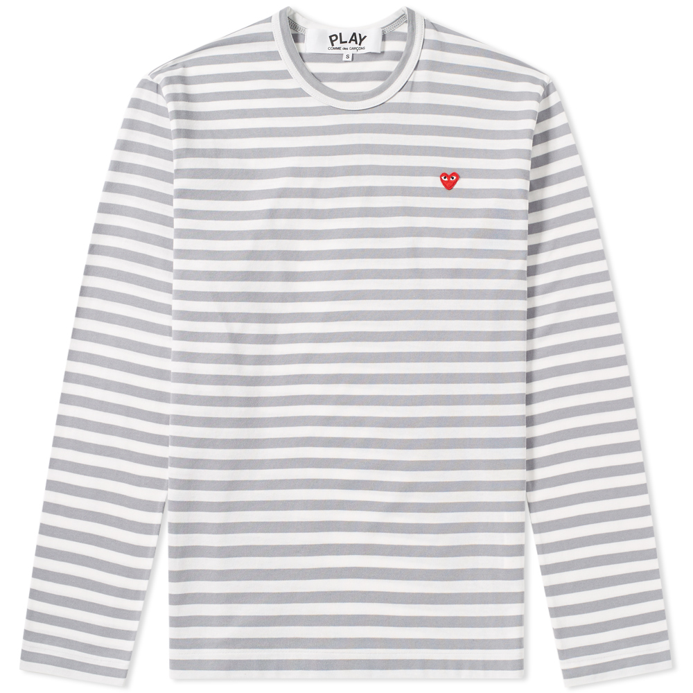 Photo: Comme des Garcons Play Little Red Heart Long Sleeve Stripe Tee Grey